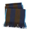 Paul Smith雙色條紋棉質圍巾(深藍/咖啡)130014-2