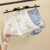 刺繡牛仔短褲女夏2020高腰破洞顯瘦a字褲大碼胖mm寬鬆闊腿熱褲潮