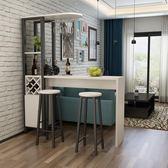 簡約現代吧台桌家用酒櫃玄關轉角隔斷櫃創意小吧台桌高腳餐桌歐式wy