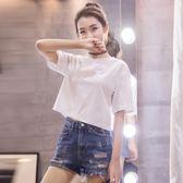 露肚臍上衣 短款白色t恤女短袖學生夏季韓版棉質純色寬鬆高腰漏肚臍【星時代女王】