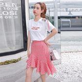 魚尾洋裝裙子假兩件套裝少女夏裝2019新款初中高中學生韓版潮俏皮連身裙 PA4533『紅袖伊人』