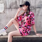2018夏裝新款原宿寬鬆迷彩短袖T恤女學生韓國百搭中長款上衣女潮