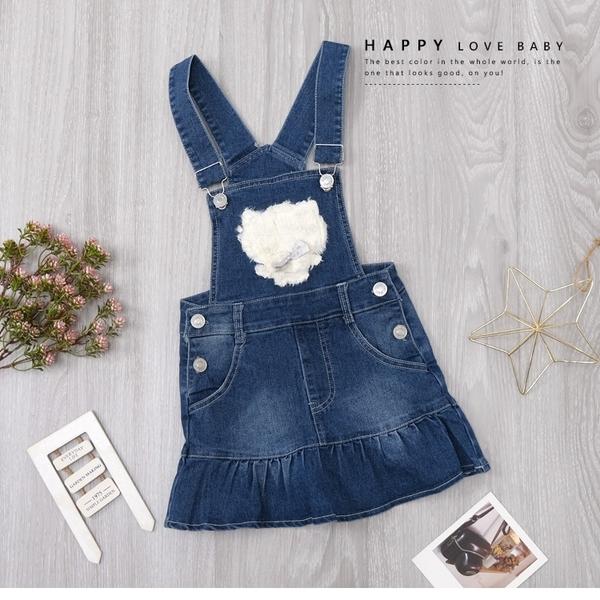 甜美貓咪蝴蝶結毛絨銀釦牛仔吊帶裙 洋裝 丹寧 藍 魚尾下擺 女童洋裝 厚 兒童洋裝 冬童裝
