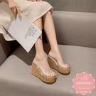 楔型涼鞋 拖鞋 水鑽點綴木紋底 厚底涼鞋*KWOOMI-A51