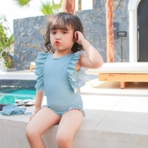 兒童泳衣 INS兒童泳衣女孩連體寶寶嬰兒可愛游泳衣公主小童韓國泳裝1-3歲 七色堇