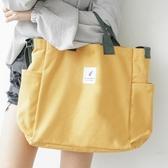帆布包女單肩手提無紡布購物袋子折疊便攜學生裝書大容量