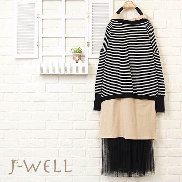 J-WELL 條紋卡其長版上衣背心紗裙三件組 (組合653 8J1377黑+8J1343卡+8J1311黑)