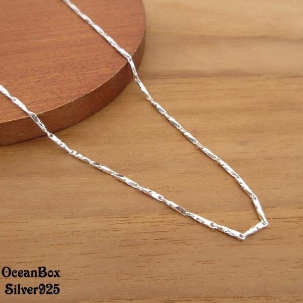 ☆§海洋盒子§☆16吋.18吋~細緻閃亮刻痕立體竹節S990純銀單鍊子 龍蝦扣頭