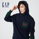 Gap男裝 碳素軟磨系列法式圈織 Logo軟連帽休閒上衣 737292-海軍藍