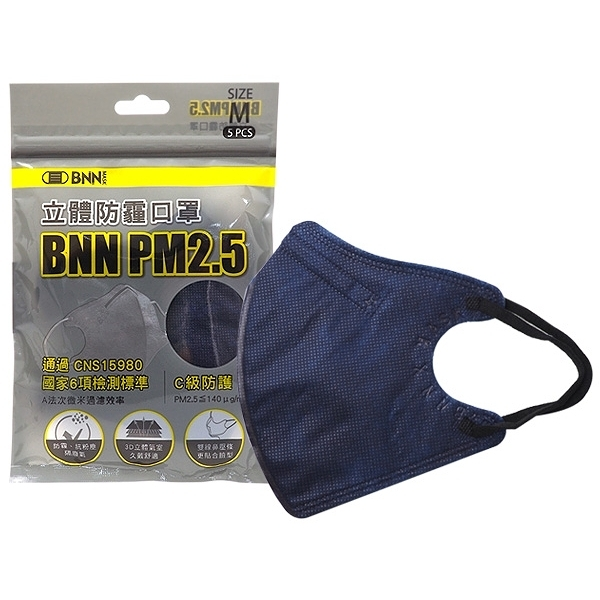 BNN PM2.5立體防霾迷幻藍口罩(5入)【小三美日】M號-成人用