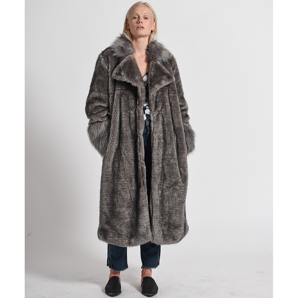 OneTeaspoon 大衣 VERONA FAUX FUR TRENCH COAT-灰(女)