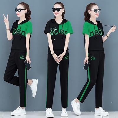 休閑運動套裝女夏季薄款冰絲時尚大碼寬松夏天短袖t恤兩件套T122-D1胖妞衣櫥