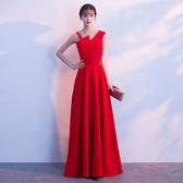 宴會晚禮服洋裝新款高貴優雅長款性感魚尾修身主持人晚宴禮服裙女【狂歡萬聖節】