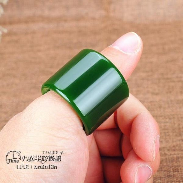 青 鬆玉器新疆碧玉扳指戒指原礦和田玉碧玉滿綠扳指指環 男女款【熱銷88折】