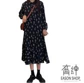EASON SHOP(GW5967)韓版復古小碎花薄款小立領下襬傘狀魚尾裙雪紡長袖連身裙洋裝女上衣服長裙過膝裙