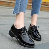 秋季小皮鞋女英倫風黑色潮鞋鞋子百搭秋鞋粗跟秋款單鞋女
