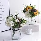 清新仿真花束小玫瑰繡球混搭綠植裝飾盆栽室內客廳清新唯美玻璃花瓶 LJ444【極致男人】
