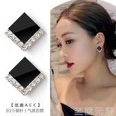 至簡元素2018新款S925純銀黑色耳釘女夏季韓國氣質耳環個性百搭簡約短髮潮