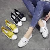 時尚女鞋淺口單鞋女夏季韓版粘扣小白鞋女鞋子時尚百搭學生平底鞋交換禮物