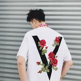 IMPACT VOVAVI ™ 17SS 主線系列 RED ROSE COLLECTION 玫瑰刺繡TEE 黑 白 拼接 中國有嘻哈