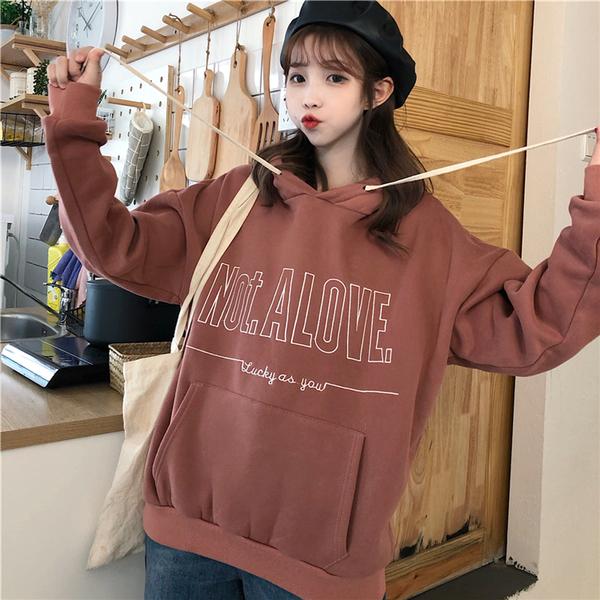 清倉188 韓國風寬鬆連帽百搭字母刺繡學院風長袖上衣