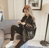 皮衣 2018秋冬季新款韓版學生寬松Bf夾克加厚短款百搭Pu棒球皮衣外套女 快樂母嬰
