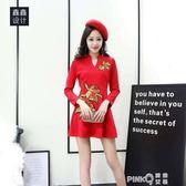 改良旗袍式連衣裙女中國風修身復古紅色時尚中長款春秋打底a字裙  【PinkQ】