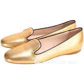 PRADA Saffiano 防刮小牛皮平底便鞋(金色) 1510509-24