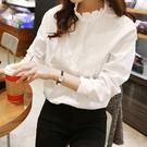 白色襯衫 春裝新款韓版休閒打底衫白襯衫 女花邊立領大碼女士襯衣純棉上衣