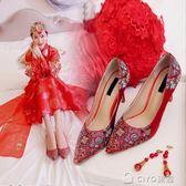 春夏紅色婚鞋尖頭龍鳳繡花單鞋女民族風秀禾中式新娘鞋高跟婚禮鞋 ciyo黛雅