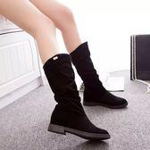 中筒靴 靴子女正韓時尚加絨刷毛保暖絨面騎士靴中筒靴圓頭內增高靴