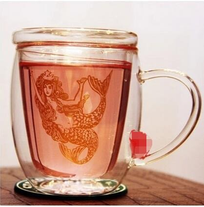 starbucks玻璃杯 限量 Bodum金色美人魚雙層玻璃杯 帶蓋 水杯 星巴克咖啡杯【潮咖範兒】