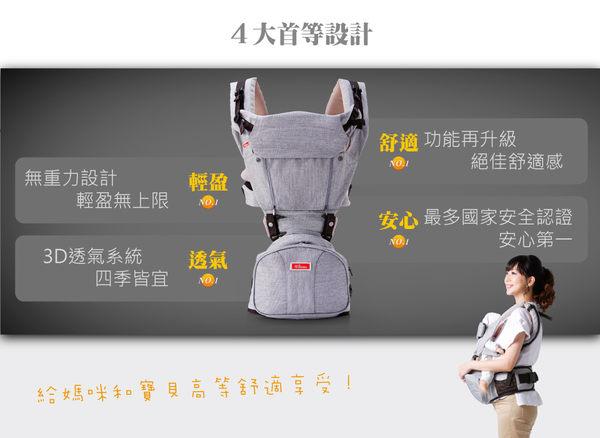 EZbag 2.0 旗艦款 坐墊式嬰兒背帶 - 米藍灰