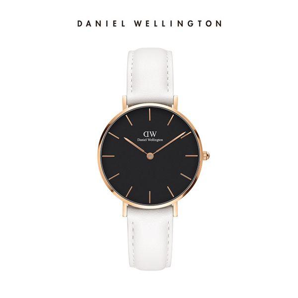 DW 手錶 官方旗艦店 32mm金框 Classic Petite 純真白真皮皮革 - Daniel Wellington