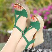 坡跟女涼鞋夏新款高跟厚底防水臺女鞋鬆糕大碼碼涼鞋女   潮流前線