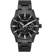 【台南 時代鐘錶 POLICE】義式潮流 埃文戴爾堅毅風格日期腕錶 15523JSB-02M 黑鋼 48mm
