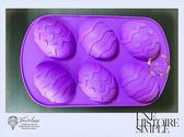 心動小羊復活節大彩蛋6 連模巧克力模具蛋糕模 皂矽膠模具製冰盒果凍盒皂模