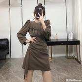 氣質泡泡長袖輕熟風不規則A字短裙子秋裝2020新款韓版顯瘦洋裝 聖誕節全館免運