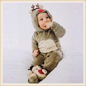 圣誕哈衣嬰兒連體衣秋冬款睡衣小麋鹿珊瑚絨連身衣爬行服哈衣xx8411【每日三C】