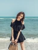 泳衣女新款連體遮肚性感小胸保守大碼韓國ins溫泉游泳衣 夢想生活家