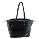 【奢華時尚】PRADA 黑色全皮銀色LOGO字樣肩背空氣托特包(八八成新)#25182