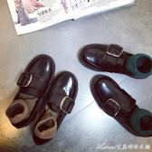 韓版百搭圓頭小皮鞋女套腳皮帶方扣復古英倫風方跟樂福鞋chic單鞋
