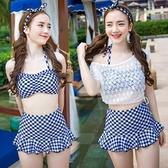 泳衣(三件式)-比基尼-經典格紋時尚韓版女泳裝-73mb24【時尚巴黎】