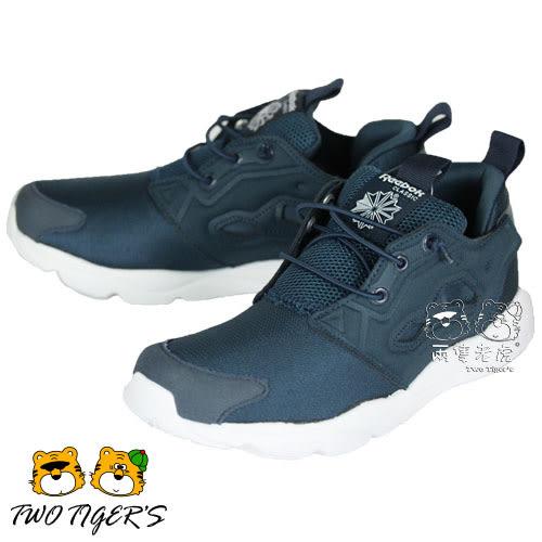 Reebok FuryLite 深藍色 套入式 運動鞋 中童鞋 NO.R1743