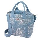 【Cath kidston】SHADOW FLOWERS 鋪棉壓紋手提斜背兩用包(水藍)