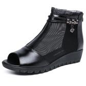 魚口鞋 坡跟鞋 夏季新款真皮女鞋坡跟女網靴舒適平底休閒女韓版女鞋《小師妹》sm2596