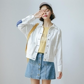 春秋季2020流行韓版寬鬆復古小清新白色工裝短夾克女裝潮 草莓妞妞