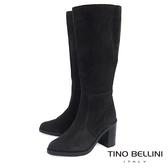 Tino Bellini義大利進口麂皮寬筒高跟長靴_ 深灰  A69002 歐洲進口款