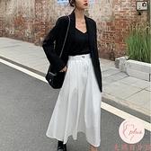 半身裙女夏季款高腰黑色傘裙中長款垂感長裙【大碼百分百】