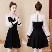 秋季連身裙顯瘦減齡新款大碼短裙胖mm寬鬆洋裝洋氣法式小黑裙 XN9232【Rose中大尺碼】
